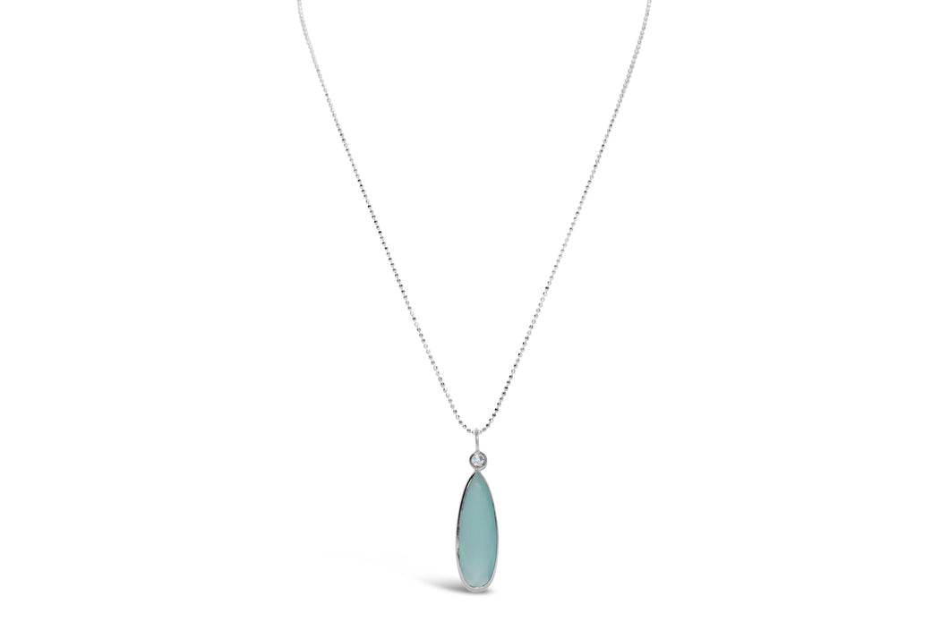 Aqua Chalcedony Diamond Cut Necklace