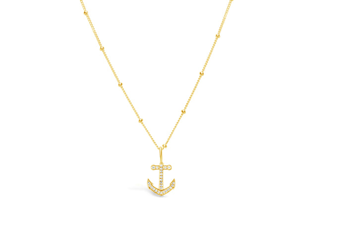 Stia by the Sea Pavé Anchor Necklace