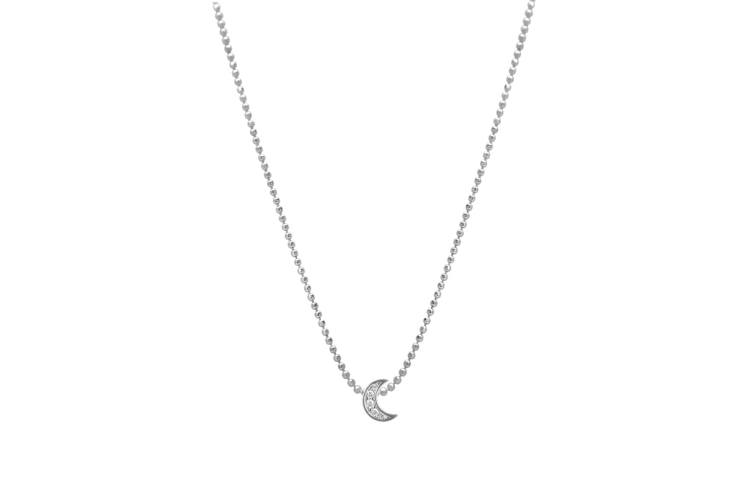 Diamond Cut Pavé Moon Slider Necklace