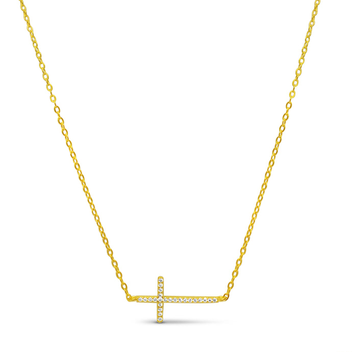 Pavé Sideways Cross Necklace