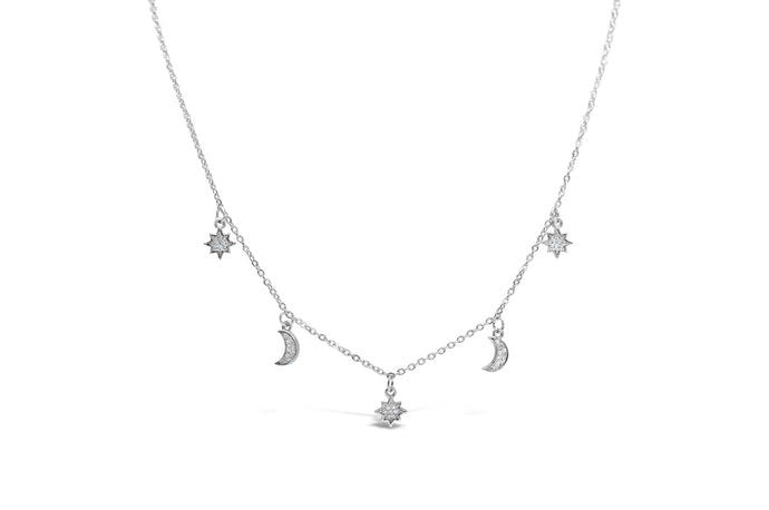 Dazzling Dangle Moon & Star Necklace