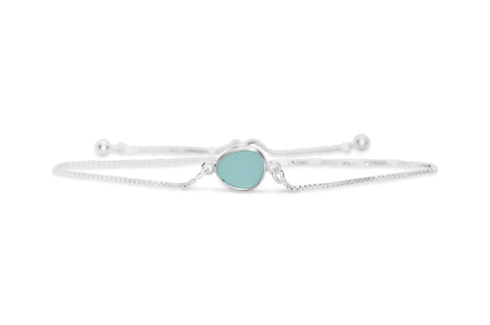 Stia by the Sea Aqua Sea Glass Pull Cord Bracelet