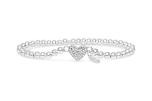 Silver Stretch Bracelet - Pavé Heart