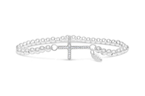 Silver Stretch Bracelet - Pavé Cross