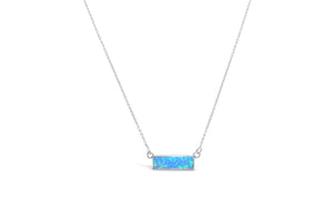 Opal Bezel Bar Necklace Blue Opal