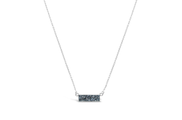 Druzy Sparkle Platinum Silver Bezel Bar Necklace