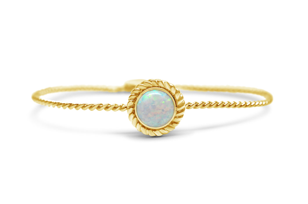 Power of Attraction Bracelet Rope Bezel White Opal