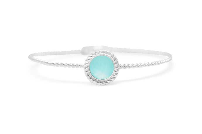 Power of Attraction Bracelet Rope Bezel Aqua Chalcedony