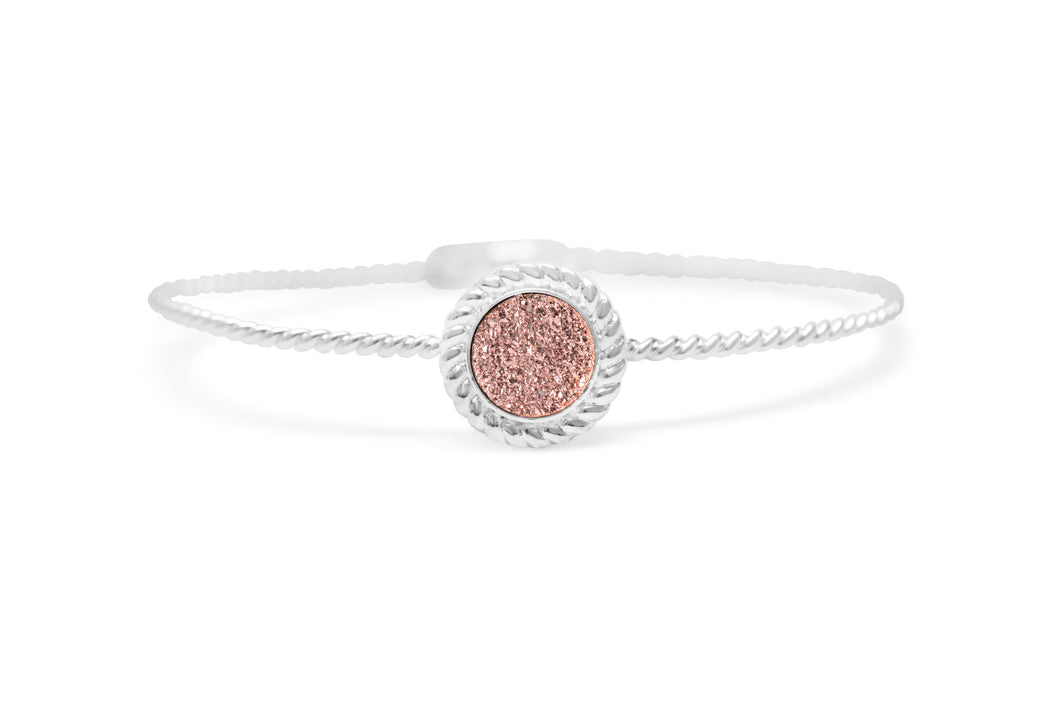 Power of Attraction Bracelet Rope Bezel Rose Gold Druzy