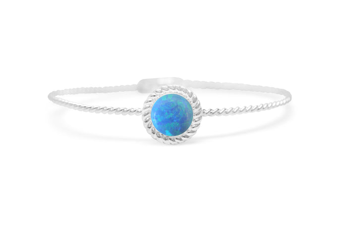 Power of Attraction Bracelet Rope Bezel Blue Opal