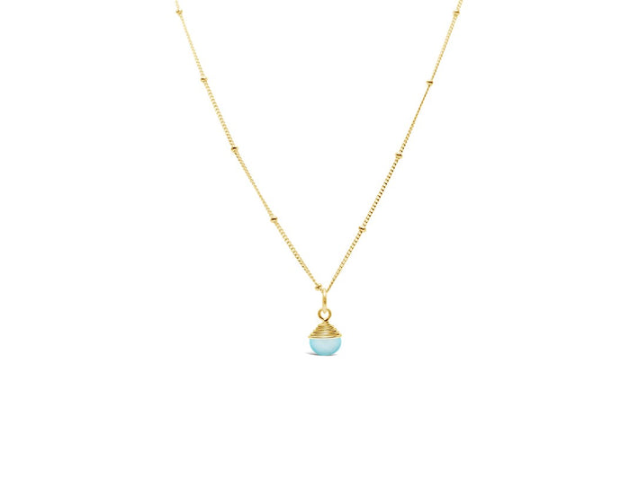 Precious Wraps Necklace Aqua Chalcedony