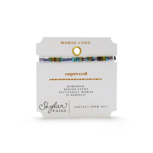 Skylar Paige - EMPOWERED - Morse Code Tila Beaded Bracelet - Awesome Like Agate