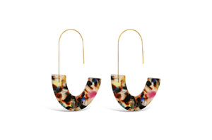 Skylar Paige - Play It By Ear! Curvy Crescent Earring - Darkened Rainbow