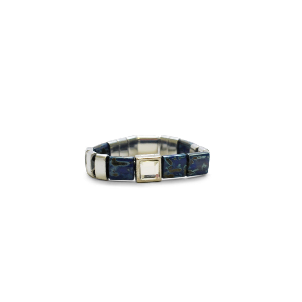 Skylar Paige - LOVE - Morse Code Tila Beaded Stretch Ring - One Size Fits Most! Luxe Lapis