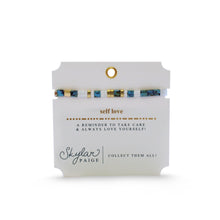 Skylar Paige - SELF LOVE - Morse Code Tila Beaded Bracelet - Take Care Turq