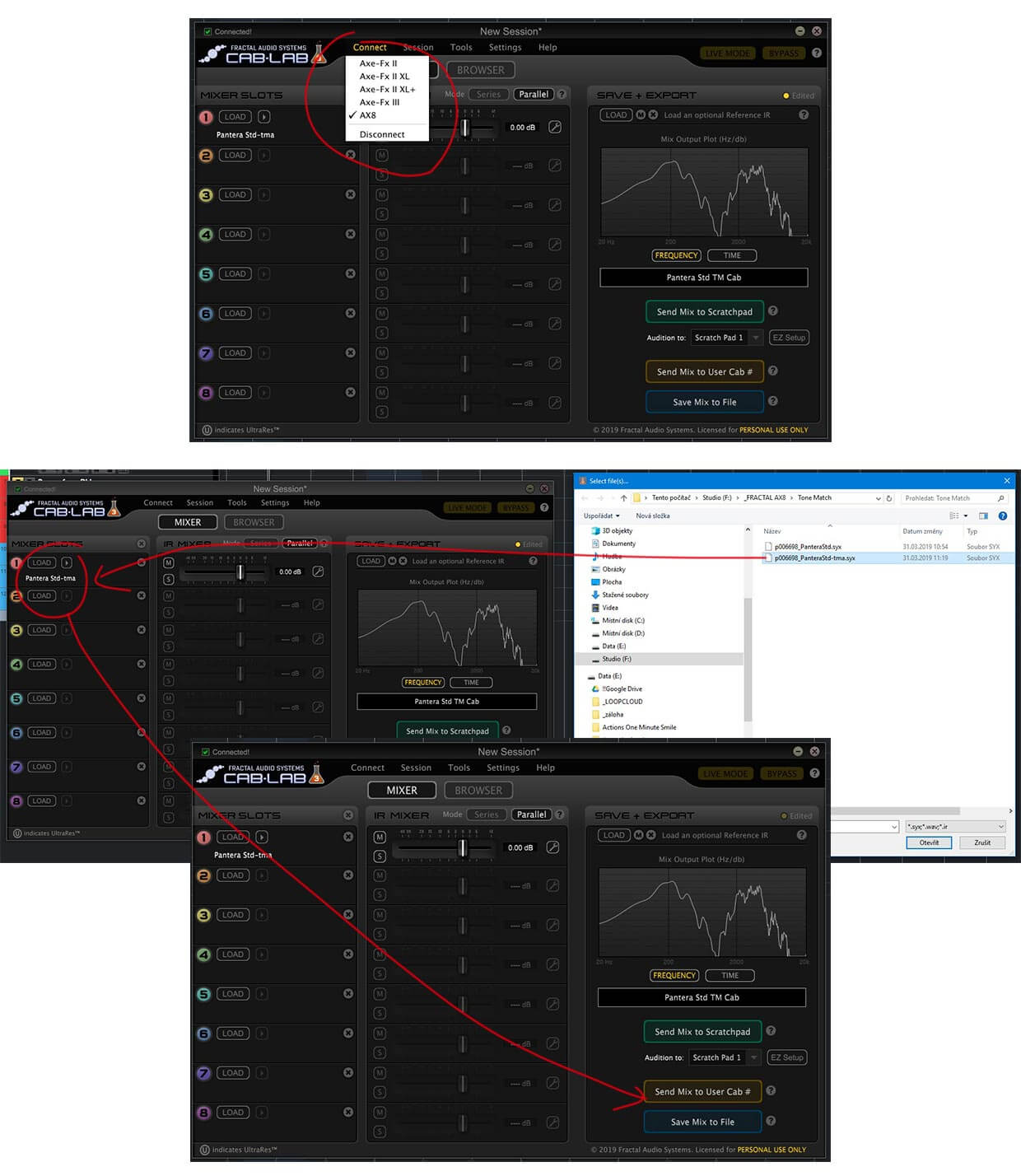 How to convert Tone Match block to Cab block for AX8 without