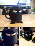 Black Mug With Samurai Spoon And Ninja Star Coaster