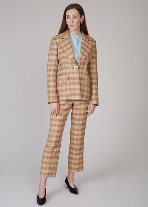 REJINA PYO - Edith jacket - Twill check camel/orange/green