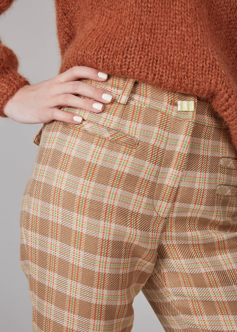 REJINA PYO - Finley pants - twill check camel/orange/green