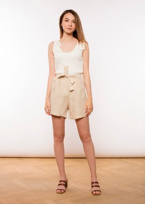 JUNGLE FOLK - MARA LINEN SHORTS - BEIGE