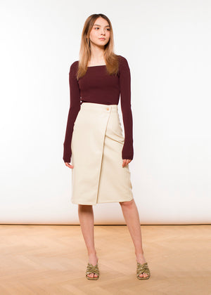AERON - Brenda Wrap Pencil Skirt - Faux Leather - Eggshell