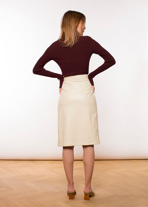 Brenda Wrap Pencil Skirt - Faux Leather - Eggshell