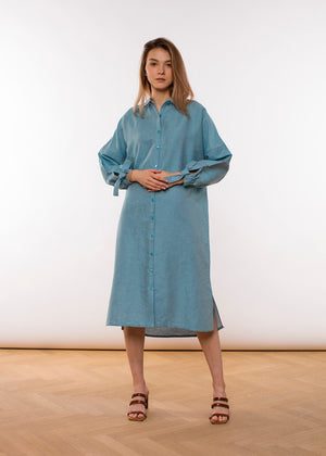 Claudia Nabholz -  Mira Blouse Dress - Sea Blue