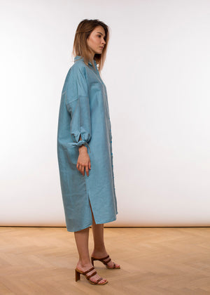 Mira Blouse Dress - Sea Blue