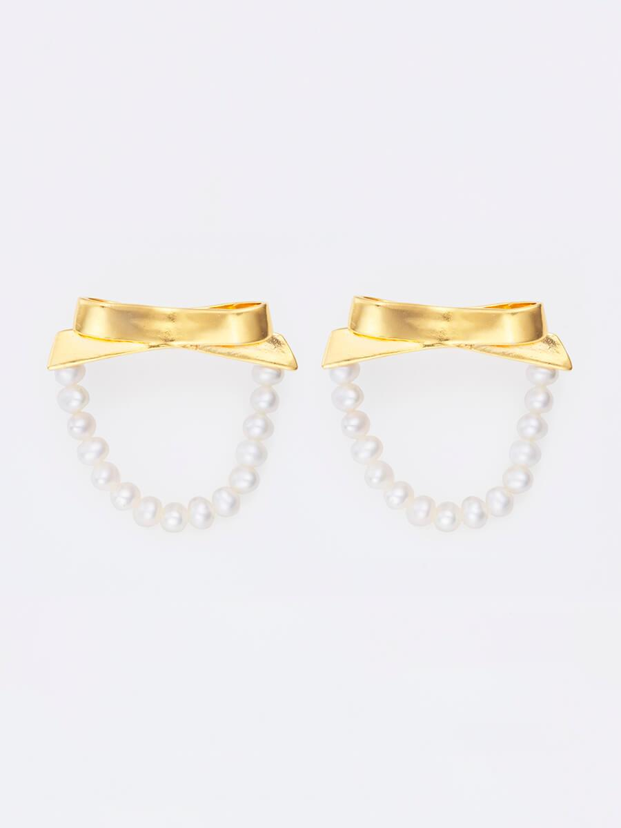 Gold petite bows & petite pearls hoops