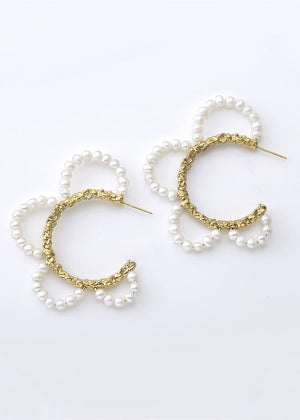 Mirit Weinstock PEARLS PEARLS STATEMENT HOOPS