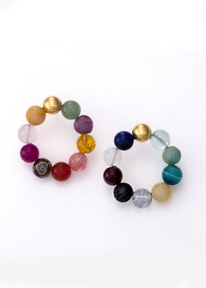Mirit Weinstock Mixed Shiny beads colorful hoops / gold