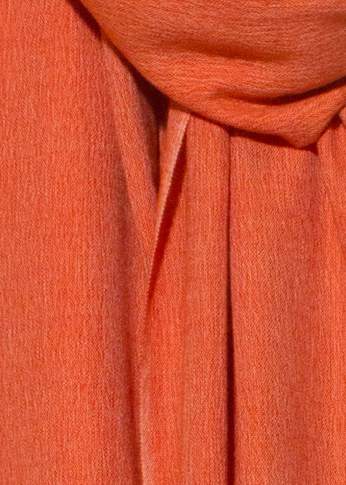 IRIS DELRUBY - Plain grain merino/cashmere scarf - orange/off white