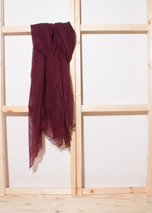 IRIS DELRUBY - Flywing cashmere scarf - wine
