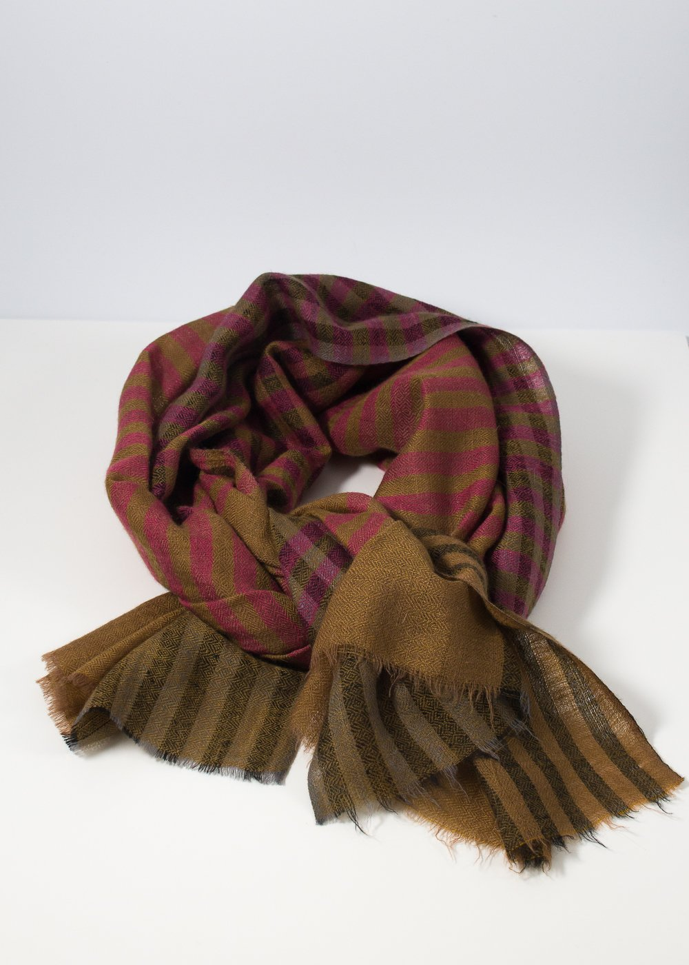 IRIS DELRUBY - Small check scarf - olive/vine/black/pink