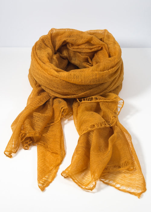 IRIS DELRUBY - Flywing cashmere scarf - honey