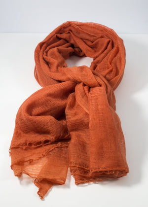 IRIS DELRUBY - Flywing cashmere scarf - rusty orange