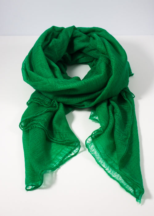 IRIS DELRUBY - Flywing cashmere scarf - bright green