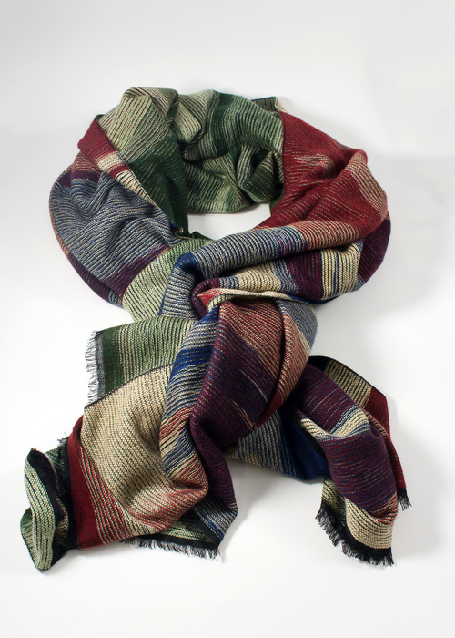 IRIS DELRUBY - Highland Scarf - blue/red/green/white double face