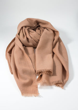 IRIS DELRUBY - plain twill cashmere scarf - nude