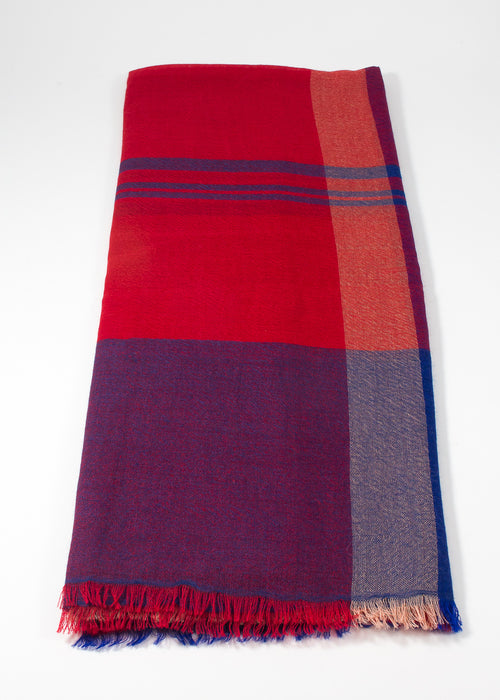 Iris Delruby - Madras scarf - blue print/fiery red/blueberry/poseidon