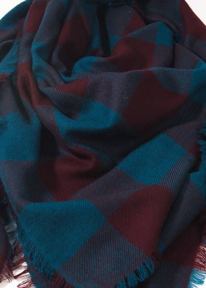 Iris Delruby - Horizon check scarf - deep teal/decadente chocolate