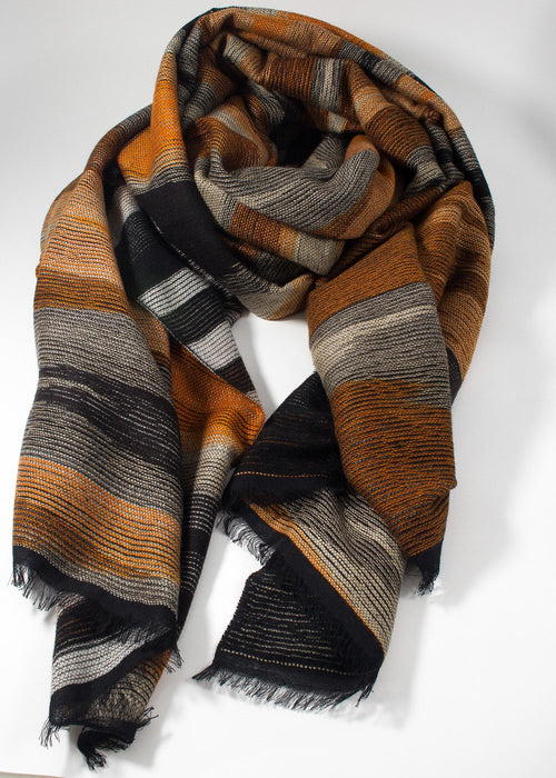 Iris Delruby - Higland Scarf - brown/orange/black/white
