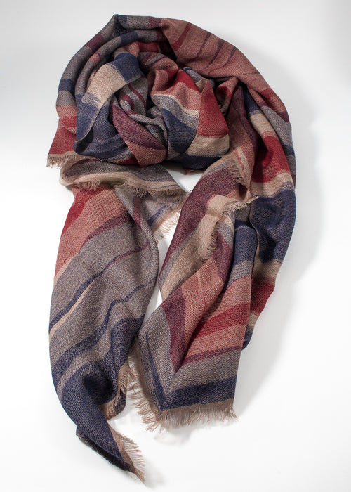 Iris Delruby - Waves scarf - blue/red/sand