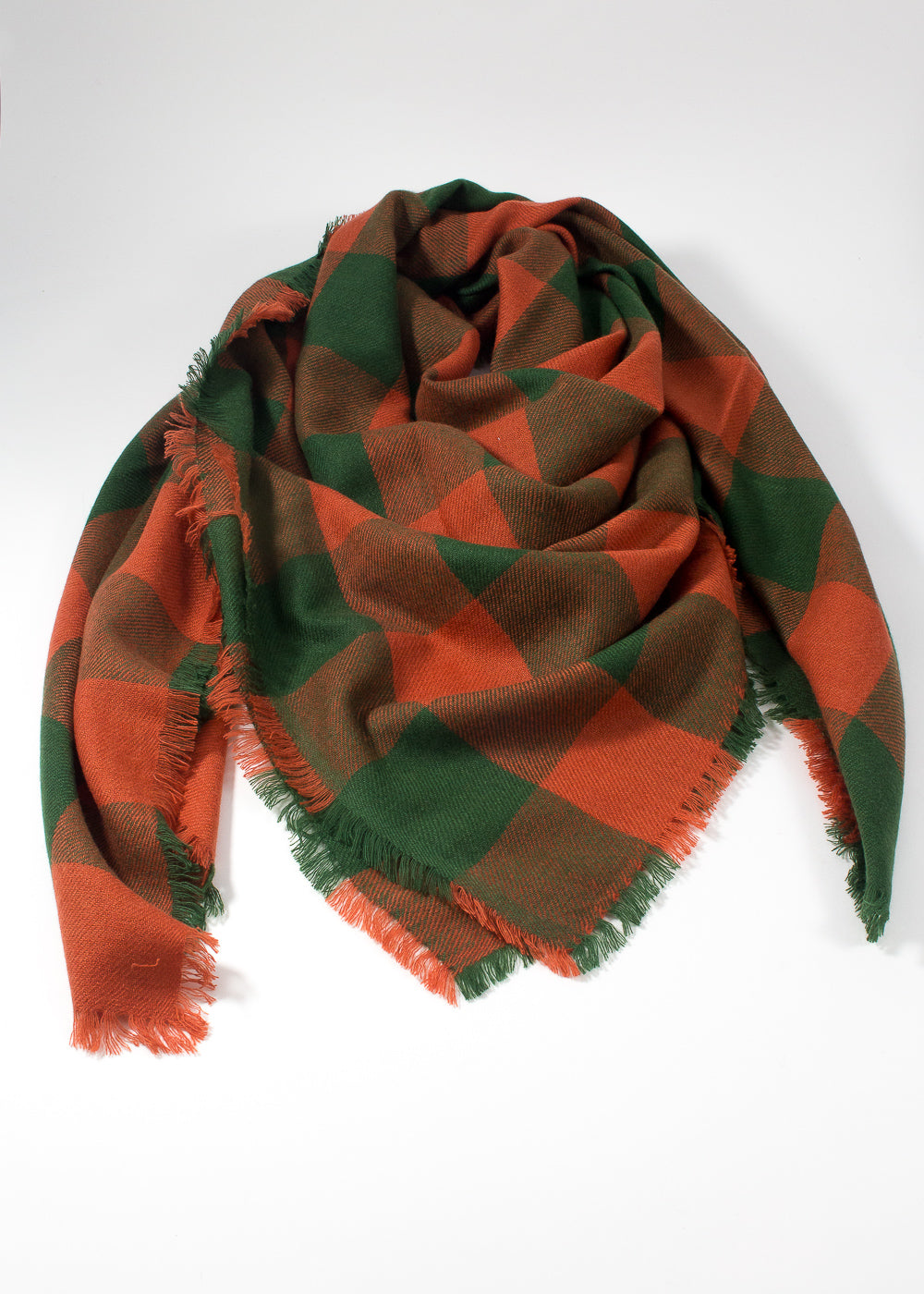 IRIS DELRUBY - horizon check scarf - orange/green