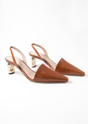 REJINA PYO - Conie Slingback Shoes - patent leather emboss almond