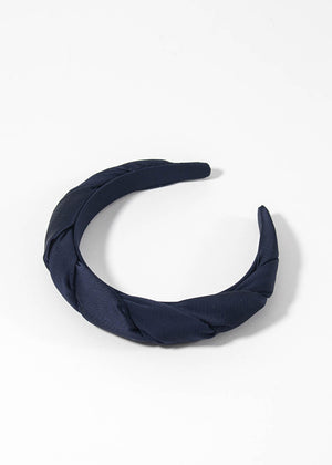 SOPHIE BUHAI - Classic twisted headband - silk navy