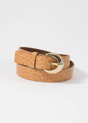 Moon belt - leather embossed croc clay
