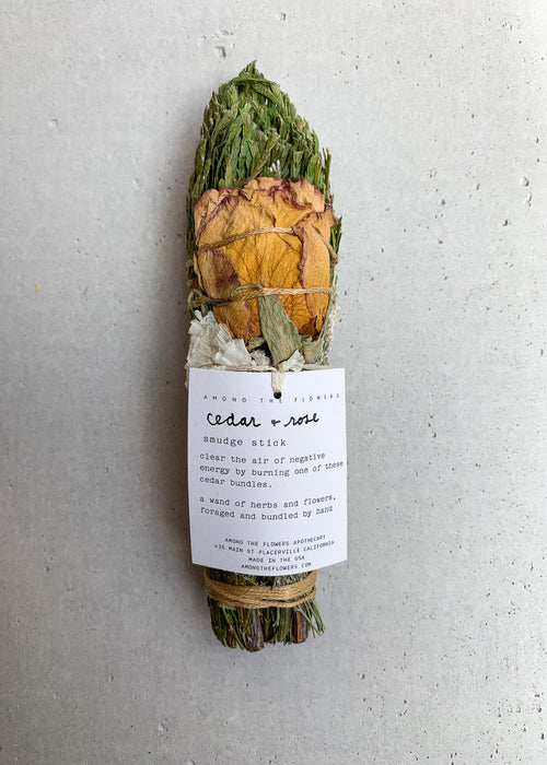 AMONG THE FLOWERS – Cedar & Rose Smudge Stick