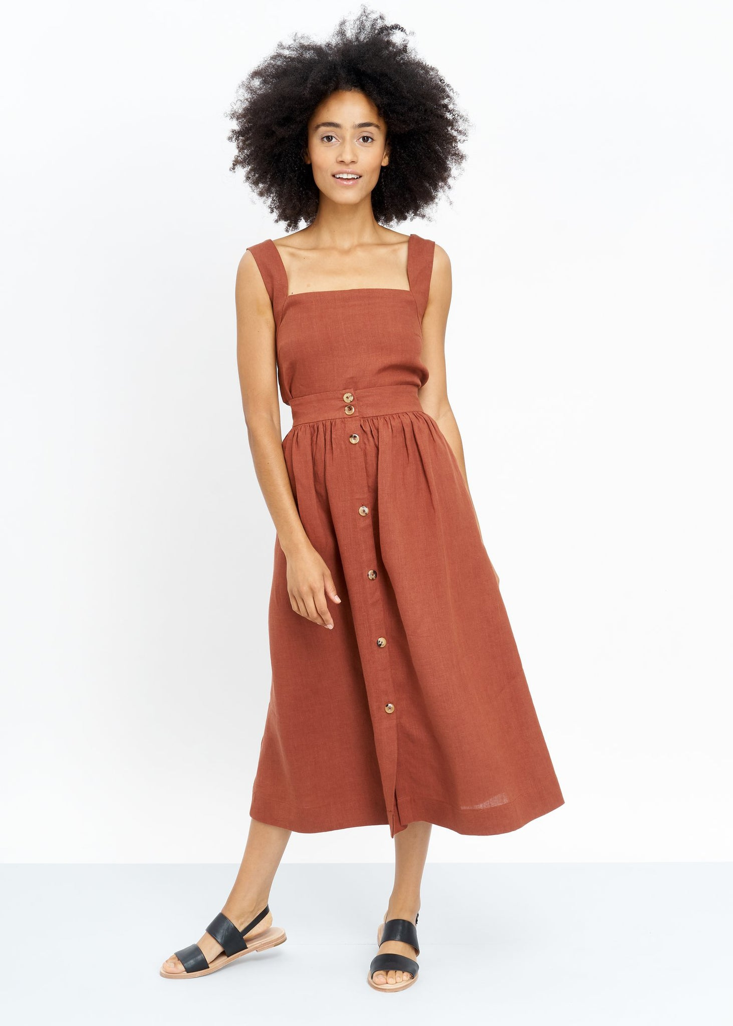 JUNGLE FOLK - Lourdes Linen Skirt - Rust