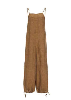 MISSING YOU ALREADY - Linen Strap Jogger Jumpsuit - orange brown
